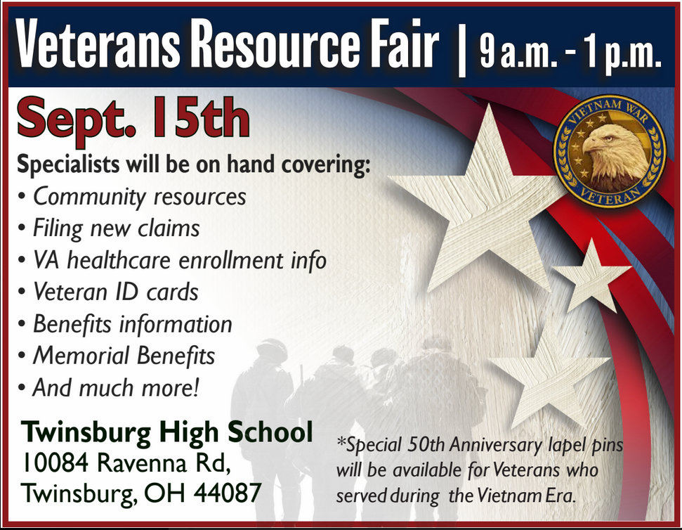 Filer for Veterans Resouce Day September 15th at Twinsburg High School