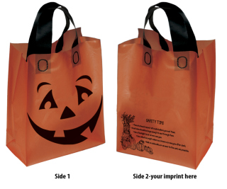 Orange Frosted Pumpkin Shopper-Flexo Ink Imprint-Bag Makers