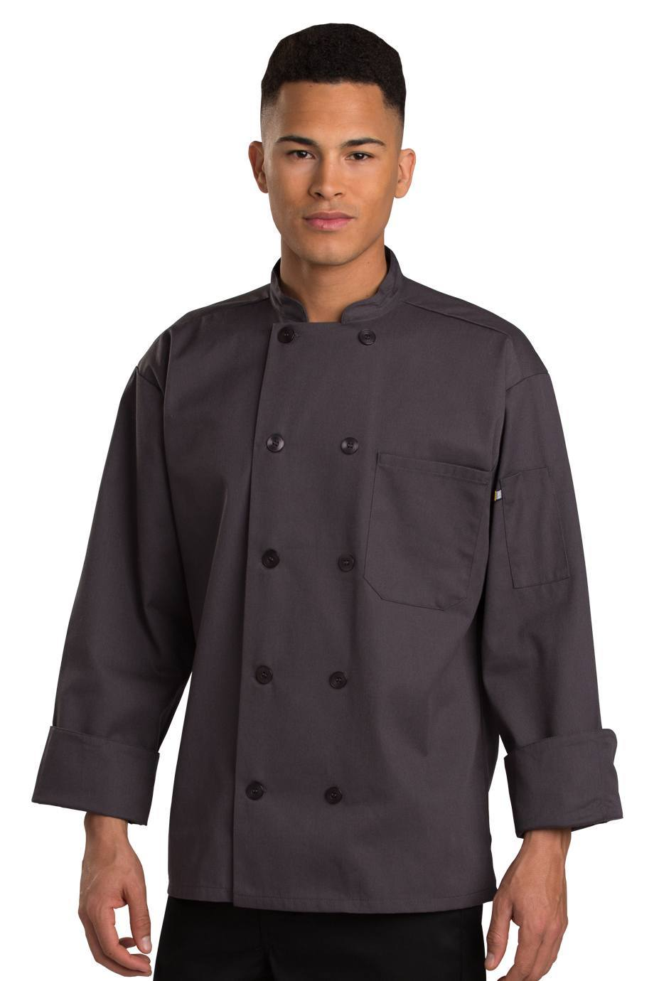 Steel Grey Pearl Button Chef Coat-