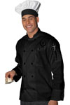 Black Long Sleeve Pearl Button Chef Coat-Edwards