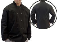 Black Long Sleeve Chef Coat With Mesh Back-Fame Fabrics