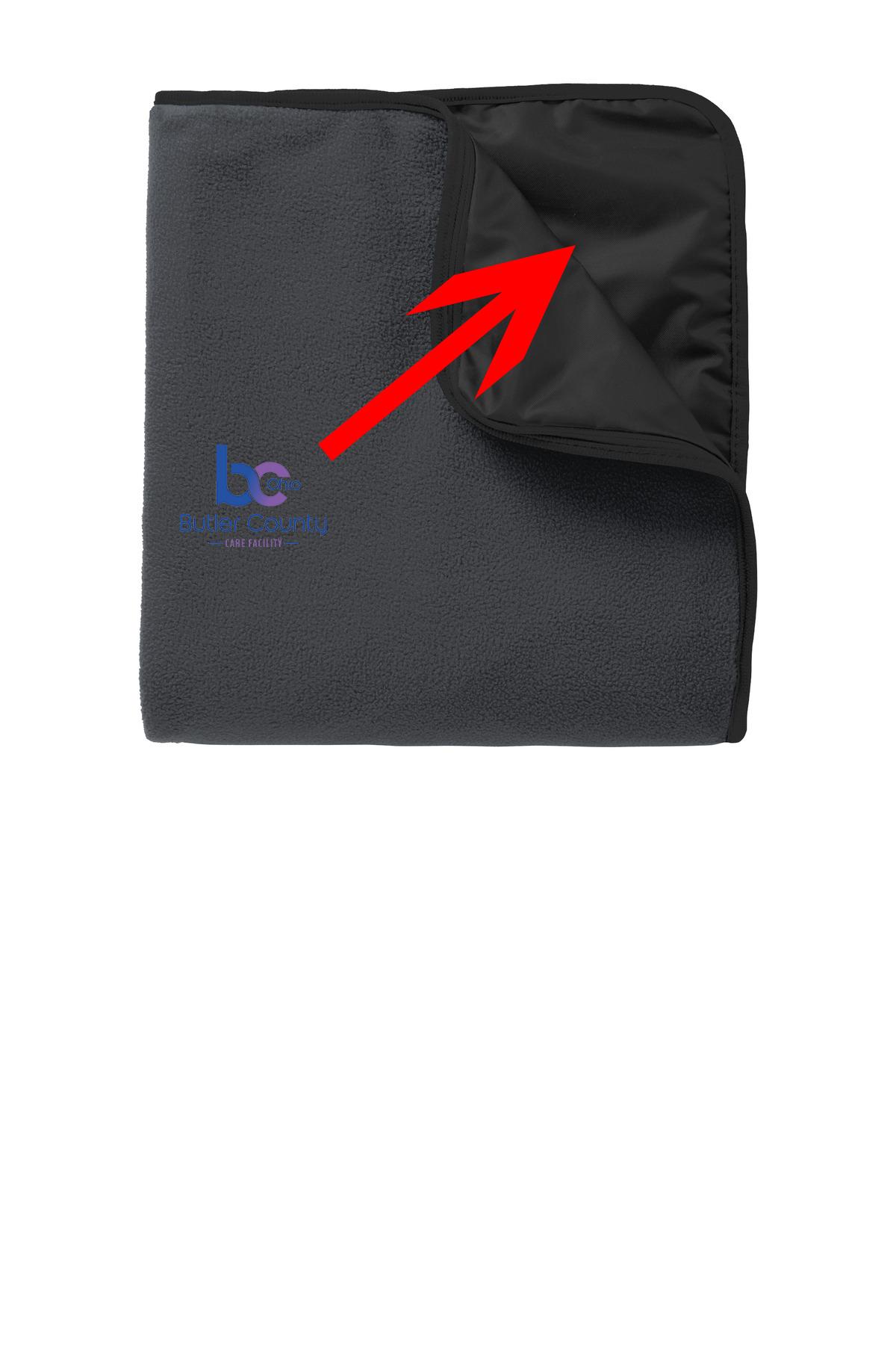 Port Authority® Fleece & Poly Travel Blanket.-Port Authority