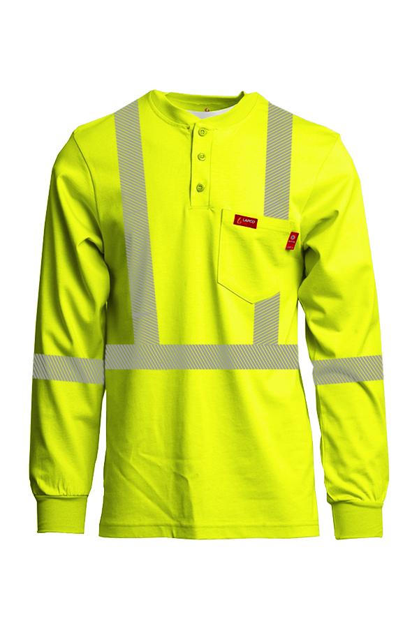 7oz. FR Hi-Viz Henley Shirts | Inherent Blend | Class 2-Lapco
