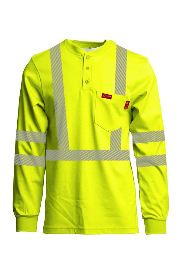 7oz. FR Hi-Viz Henley Shirts | Inherent Blend | Class 3-Lapco