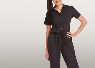 2 Pocket S/S Drawstring Jumpsuit-Barco