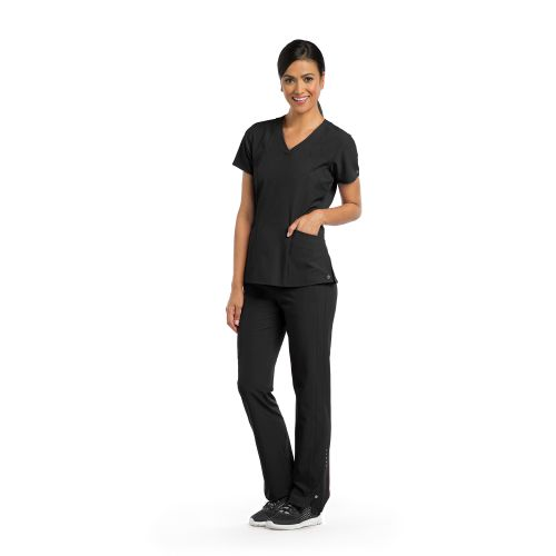 4 Pocket V-Neck Top with Princess Seaming and Perforated Panel - Barco One-Barco One