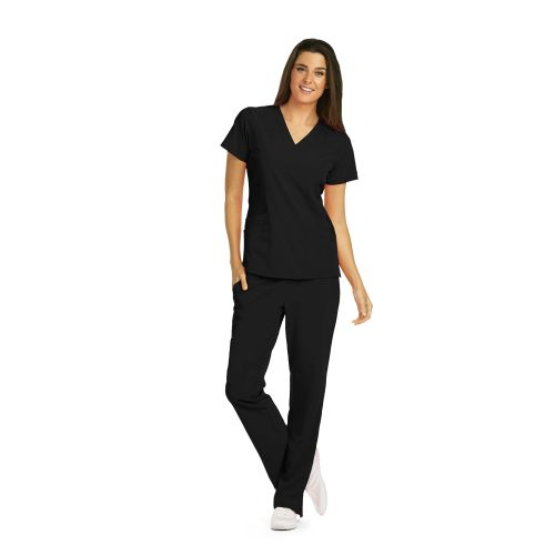 5 Pocket V-Neck Top with Sporty Seaming and Side Panel - Barco One-Barco One