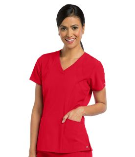 Womens Barco One Scrub Top 4 Pocket V-Neck Yoke & Side Panel