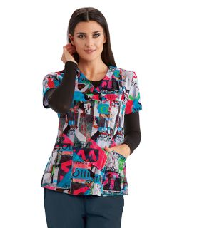 4 Pocket Printed V-Neck Top - Barco One-Barco One