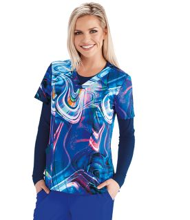 Barco One Women's Printed V-Neck Scrub Top-5107-Barco One