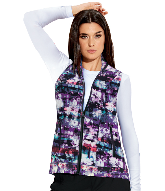 2pkt Shirred Printed Zip Vest-
