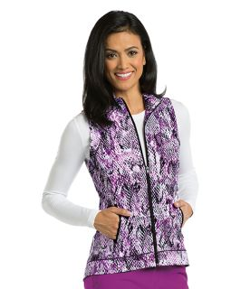 2pkt Shirred Printed Zip Vest