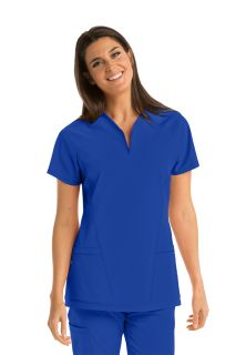 3 Pocket Hi-Lo V-Neck Scrub Top with Invisible Zipper - Barco One-Barco One