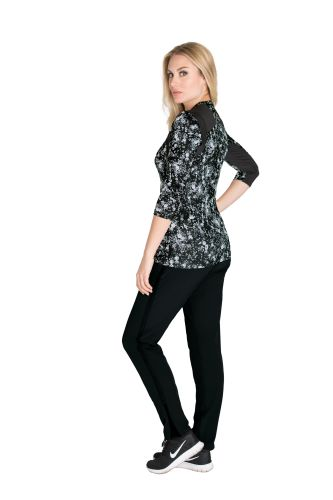 Crewnk 3/4slv Printed Knit Top-Barco Wellness