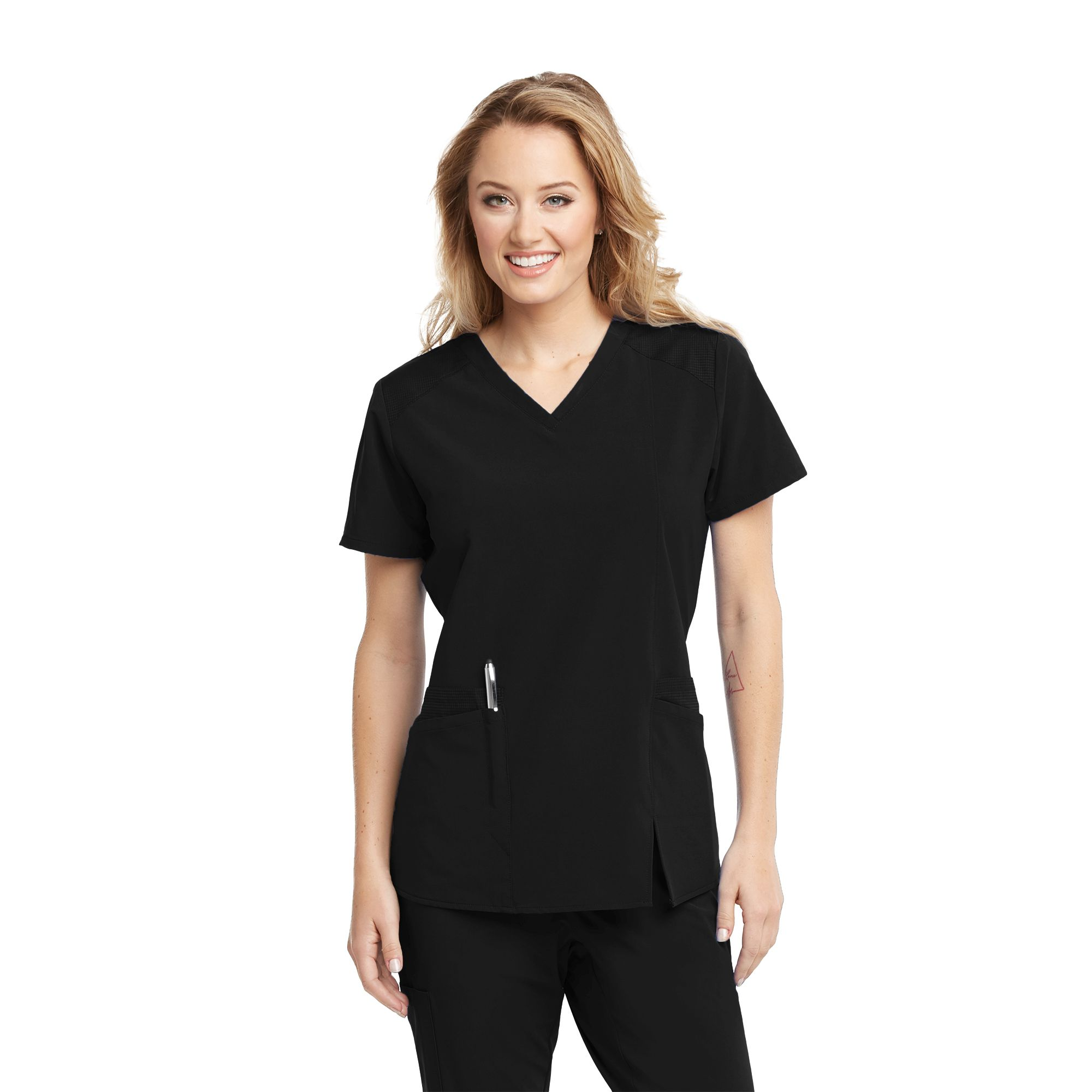 Barco One Wellness 4 Pocket V-Neck Contrast Shoulder Front Split-Barco Wellness
