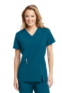 Barco One Wellness Women's 4 Pocket Contrast Panel Scrub Top-BWT012-Barco Wellness
