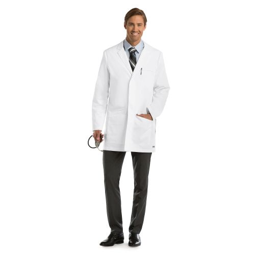 "M35"" 6 Pocket Hidden Plkt Labcoat-"