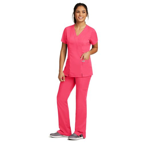41101 Ladies Junior 2 Pocket Mock Wrap Top by Grey's Anatomy-Greys Anatomy