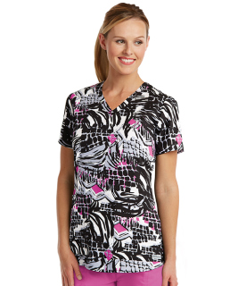41386 Ladies 2 Pocket Print Top by Grey's Anatomy