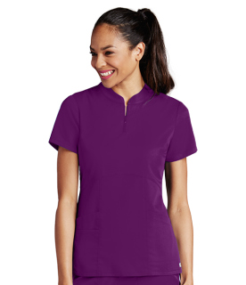 Grey's Anatomy 4 Pocket Empire Waist Zip Neck Scrub Top