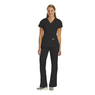 Junior 3 Pocket Mock Wrap Top W/ Back Tabs