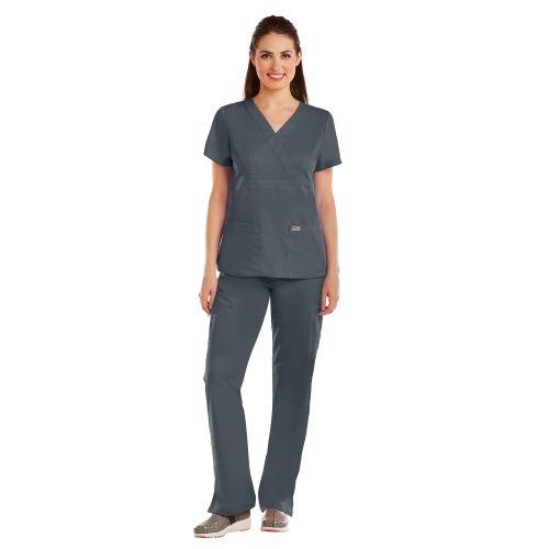 Grey's 3 Pocket Mock Wrap Top W/ Back Tabs-Greys Anatomy