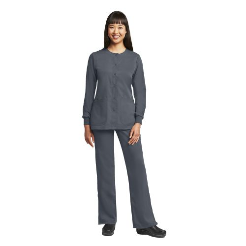 Grey's 4 Pocket Round Neck Cuffed Warm Up - 4450-Greys Anatomy