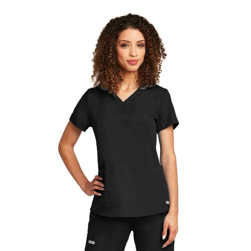 2 Pocket V-Neck Shirred Back-