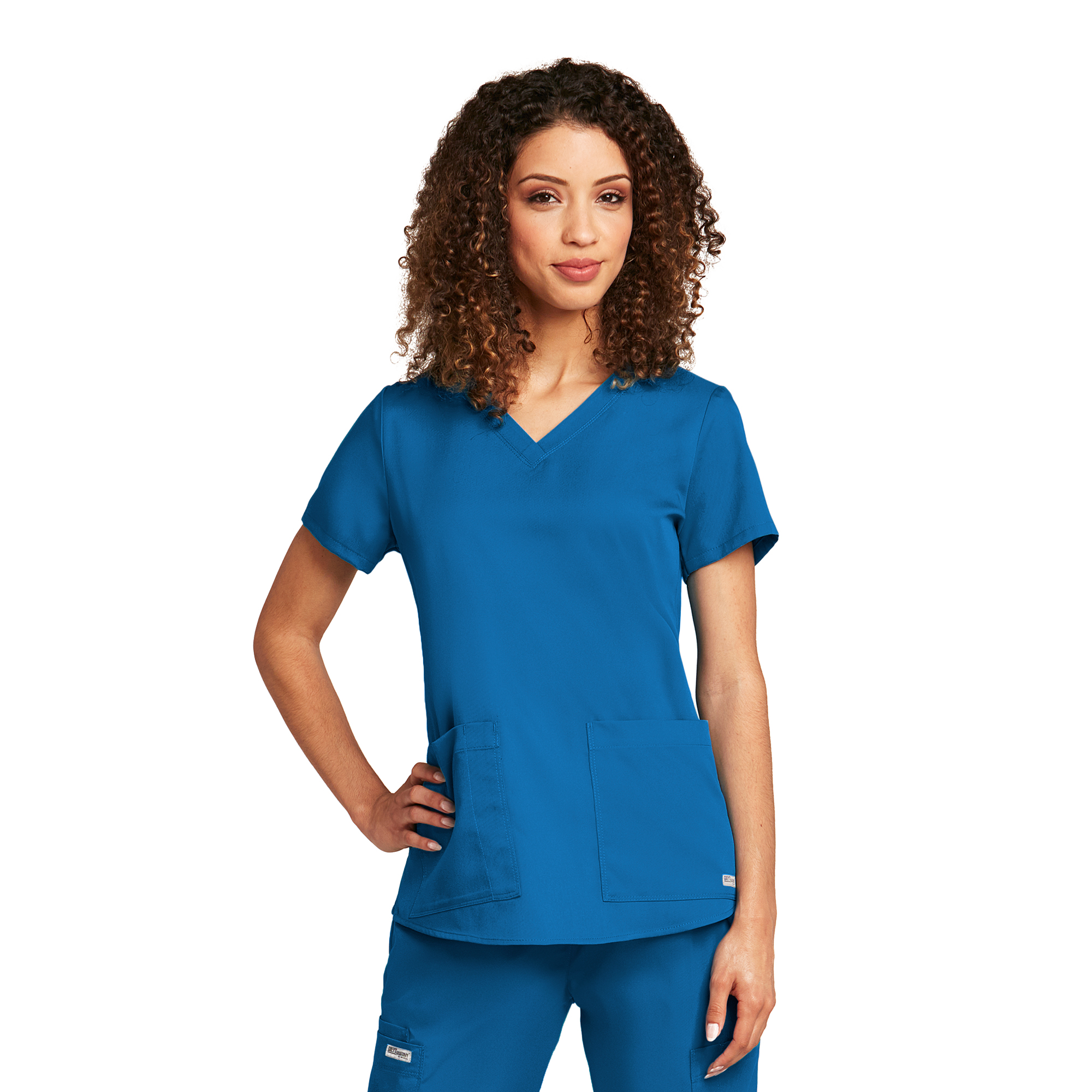 2 Pocket V-Neck Shirr Back-Greys Anatomy