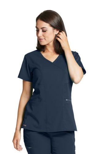 Grey's 3 Pocket Stretch Mock Wrap Scrub Top - GRST001-Greys Anatomy