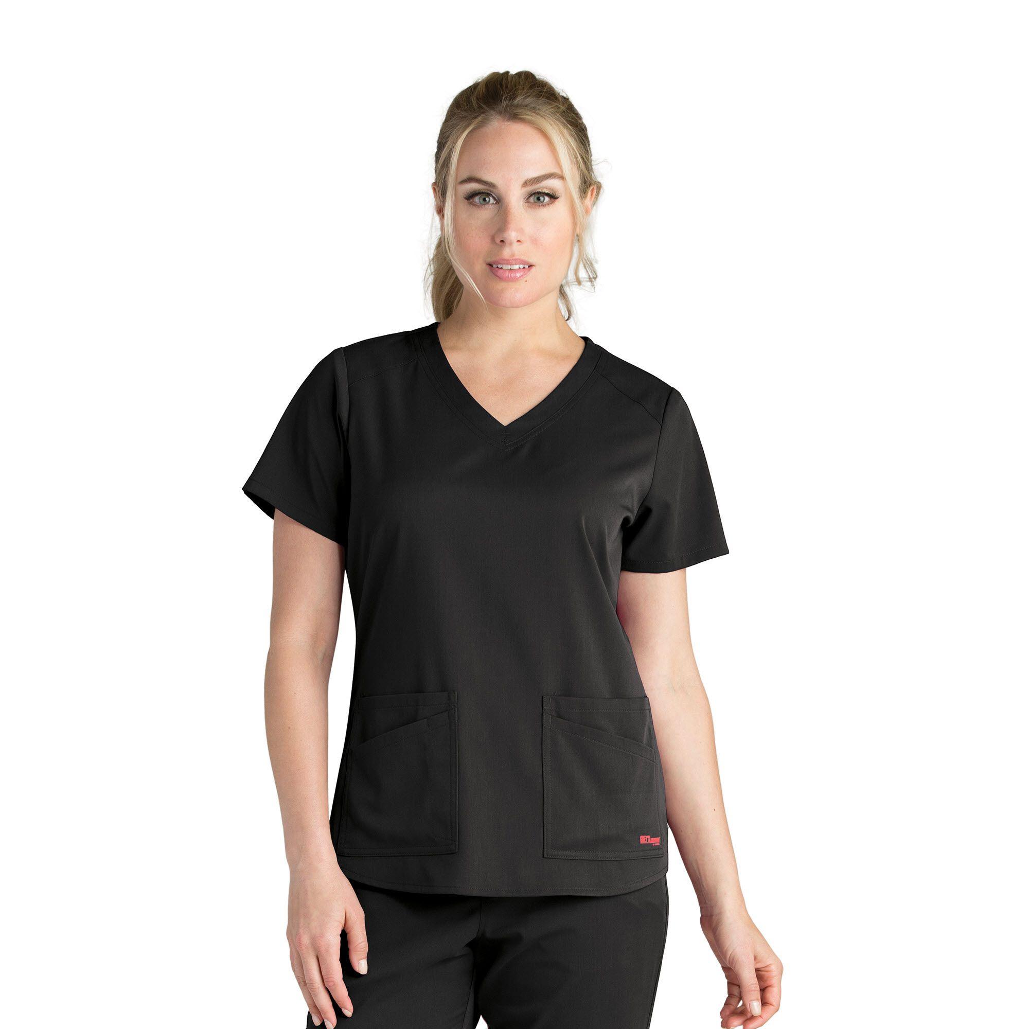 Grey's Anatomy 4 Pocket V-Neck Shoulder Yoke Top-Grays Anatomy Spandex Stretch