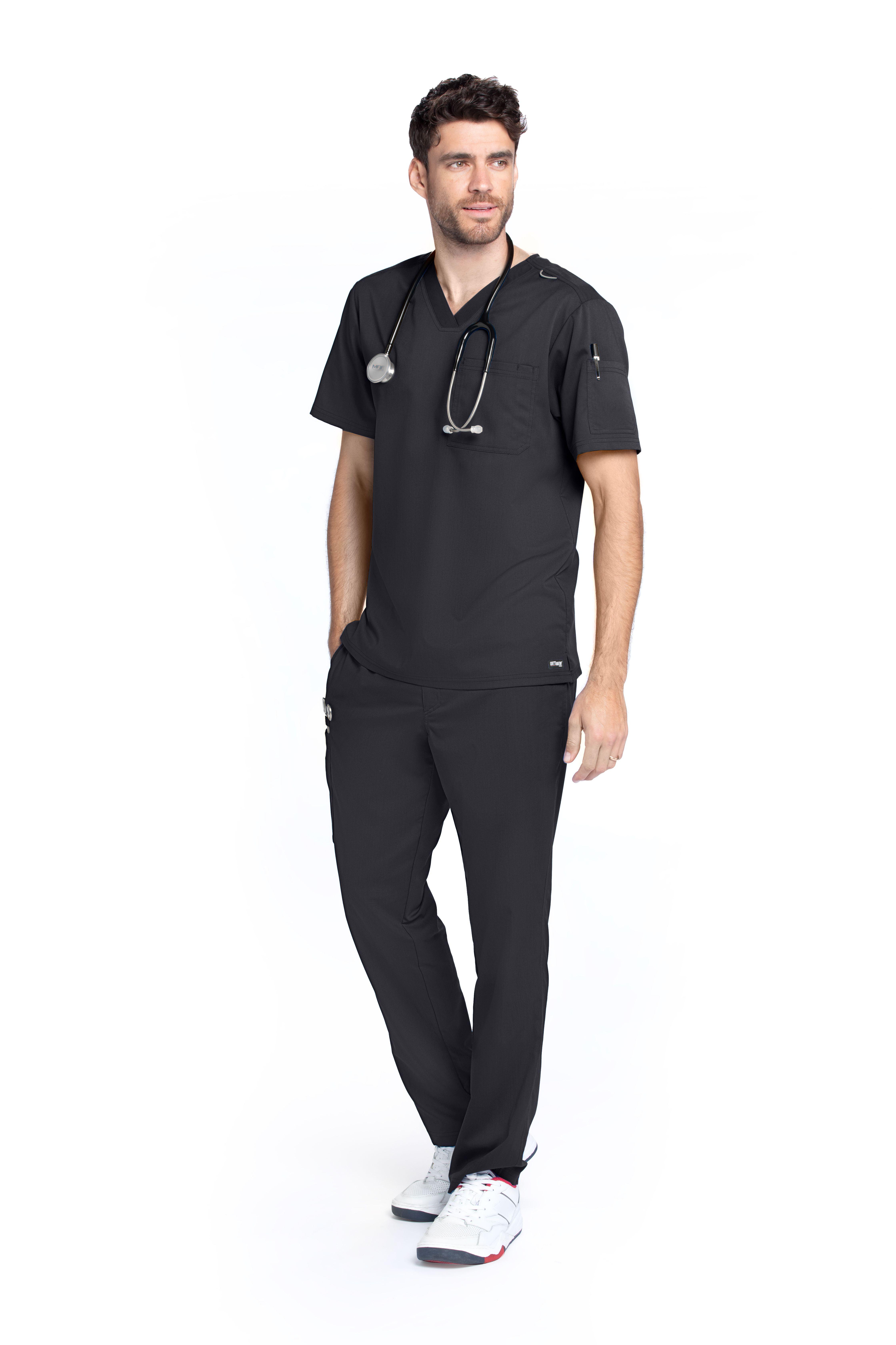 Z - Grey's Men's 2 Pocket Lapover V-Neck Top-Grey's Anatomy