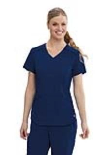 Grey's 4 Pocket Mesh V-Neck Shirt Tail Top-Greys Anatomy