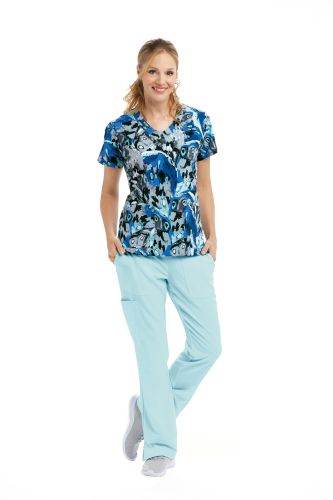 Grey's Anatomy Signature Print V-Neck Scrub Top-Greys Anatomy Signature