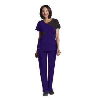 Barco Grey's Anatomy Signature Women's Contrast Mock Wrap V-Neck Top