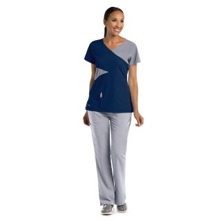 2140 Ladies 5 Pocket Contrast Mock Wrap by Grey's Anatomy Signature