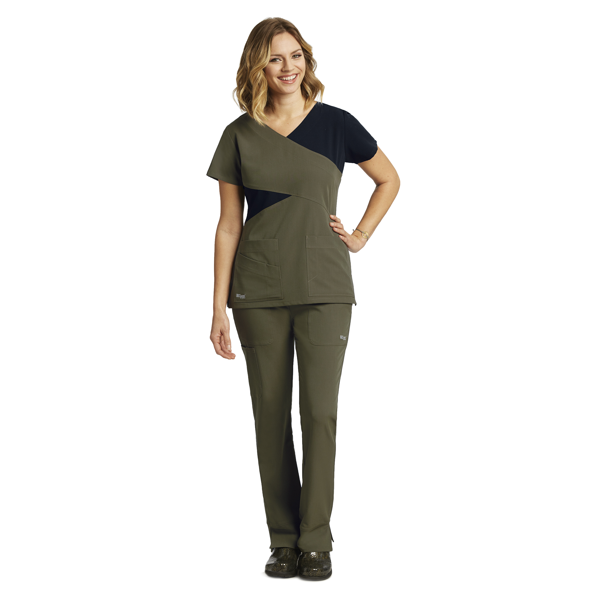 399aea179e5 Buy 3 Pocket Color Block Mock Wrap - Greys Anatomy Signature Online ...