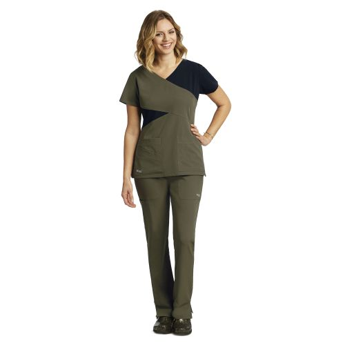 3 Pocket Color Block Mock Wrap-Greys Anatomy Signature