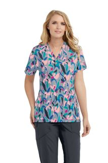 Grey's Anatomy Signature Women's 3 Pocket Printed V-Neck Scrub Top GNT030-Greys Anatomy Signature