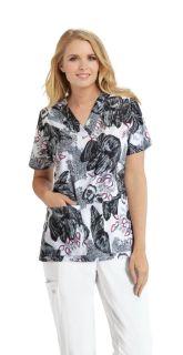 Grey's Anatomy Signature Women's 3 Pocket Printed V-Neck Scrub Top GNT030-Greys Anatomy Signature