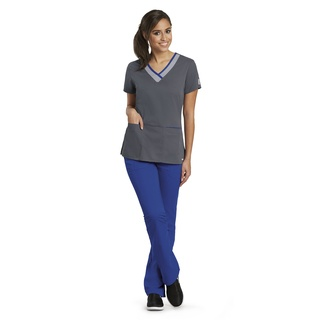 41399 Ladies 3 Pocket Color Block V-Neck by Grey's Active