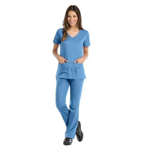 41423 Ladies 4 Pocket Solid Side Panel V-Neck by Grey's Active-Greys Anatomy Active