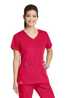 Active 4 Pocket Solid Side Panel V-Neck - 41423-Greys Anatomy Active