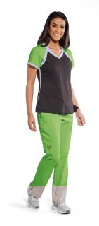 3pkt V-Nk Colorblk Scuba Top-