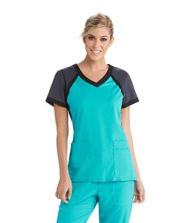 Greys Anatomy Active Medical Tops 3pkt Raglan Scuba V-Neck-Greys Anatomy Active