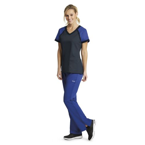 Grey's Anatomy Active Women's Color Block Crossover V-Neck Scrub Top-Greys Anatomy Active