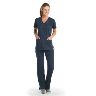 41454 Ladies 3 Pocket Emboss Inset V-Neck by Grey's Active - Shadow