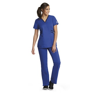 41458 Ladies 3 Pocket Stylized Contrast V -Neck by Grey's Active - Marquis