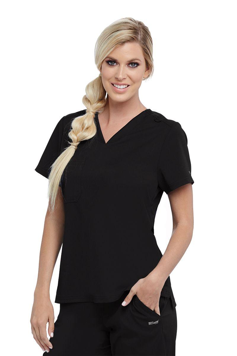 Grey's Anatomy Spandex Stretch 1 Pocket Knit V-Neck Tuck In Top-Grays Anatomy Spandex Stretch