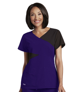 Grey's Anatomy Signature 5 Pocket Contrast Mock Wrap V-Neck Scrub Top